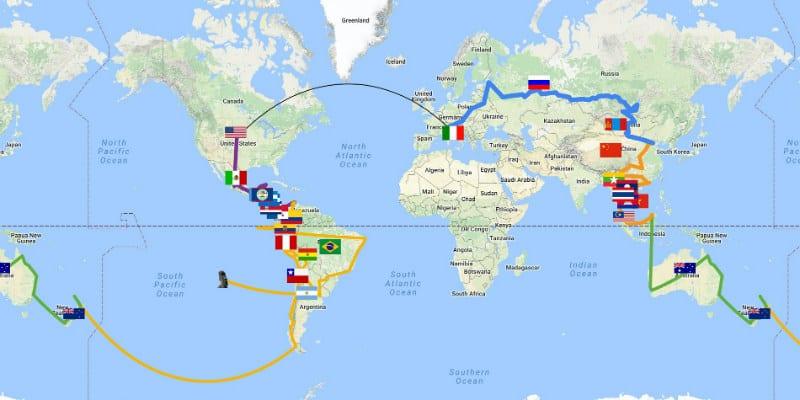 mappa giro del mondo