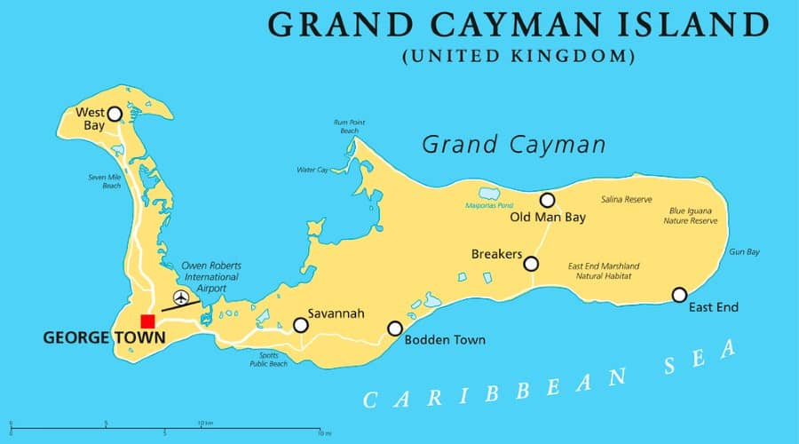 mappa isole Cayman islands