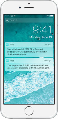 notifiche push banca online n26