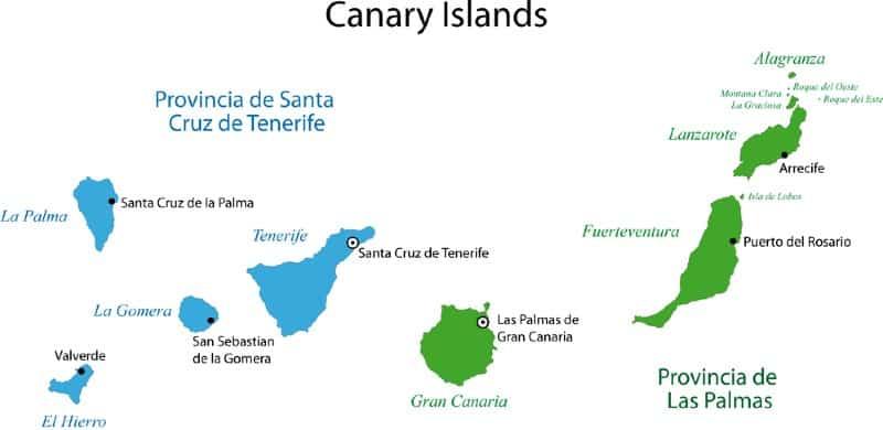 Trasferirsi alle Canarie province