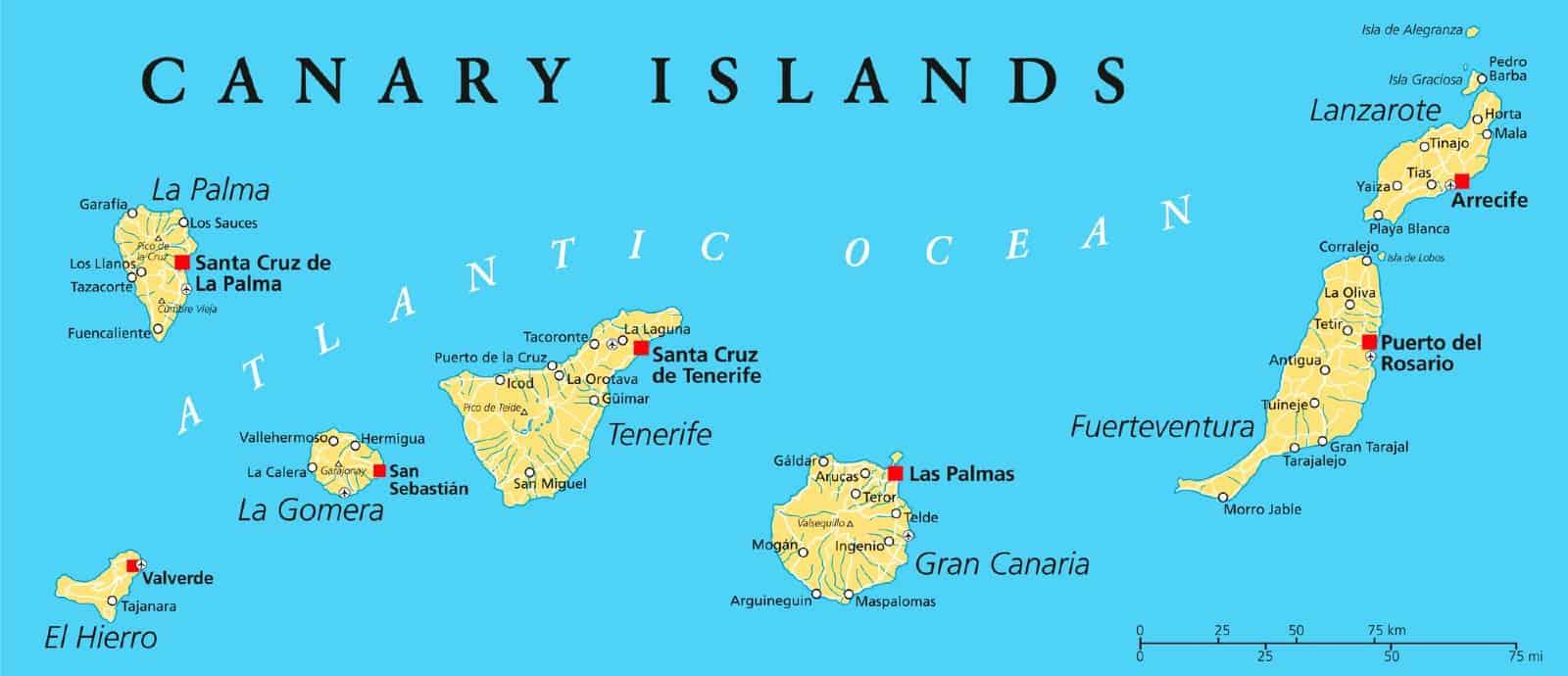Mappa Isole Canarie quale scegliere
